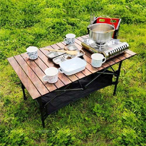 [아이젠베르그] 캠핑용 접이식 우드 블랙 테이블 (특대형) 높낮이조절가능
