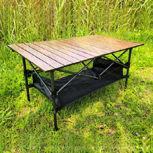 [아이젠베르그] 캠핑용 접이식 우드 블랙 테이블 (대형) 높낮이고정형